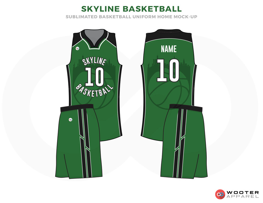 SKYLINE BASKETBALL Green Black and White Basketball Uniforms, Jersey and Shorts