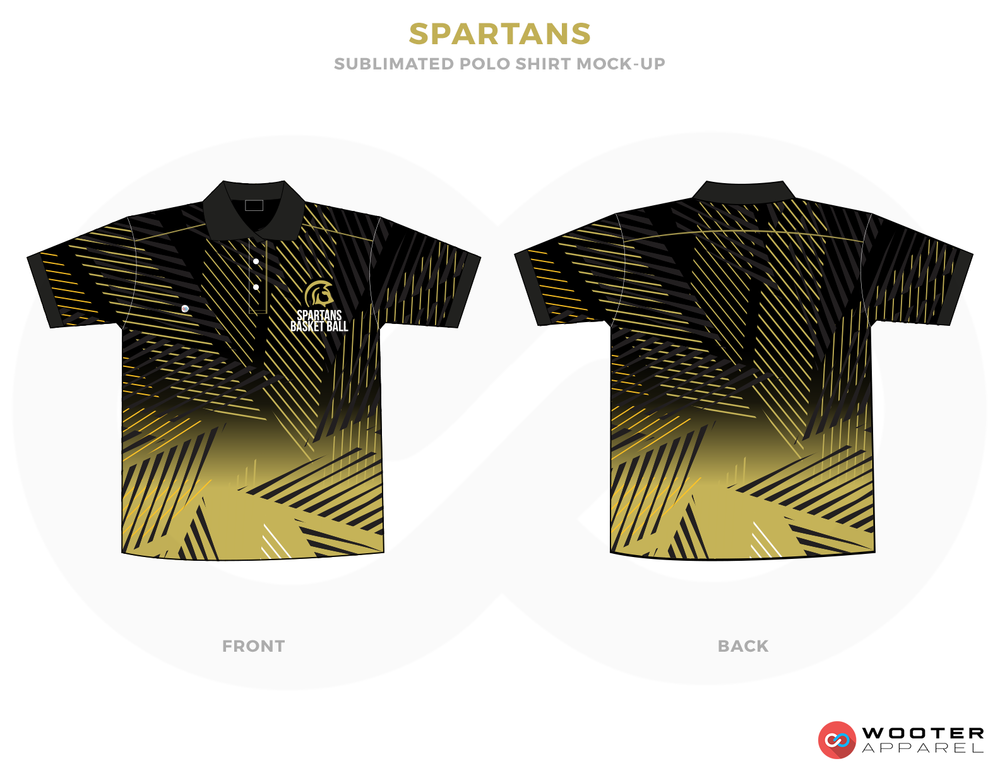 SPARTANS Golden Black and White Basketball Uniforms, Jersey and Shirts