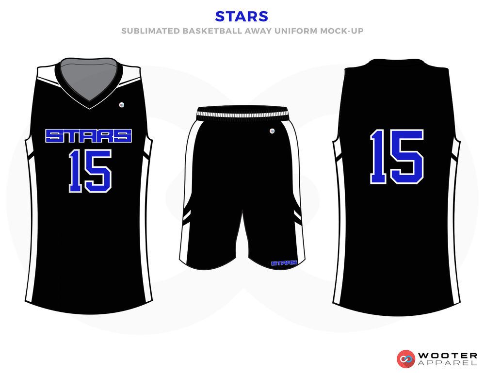 STARTS Black Blue and White Basketball Uniforms, Jersey and Shorts