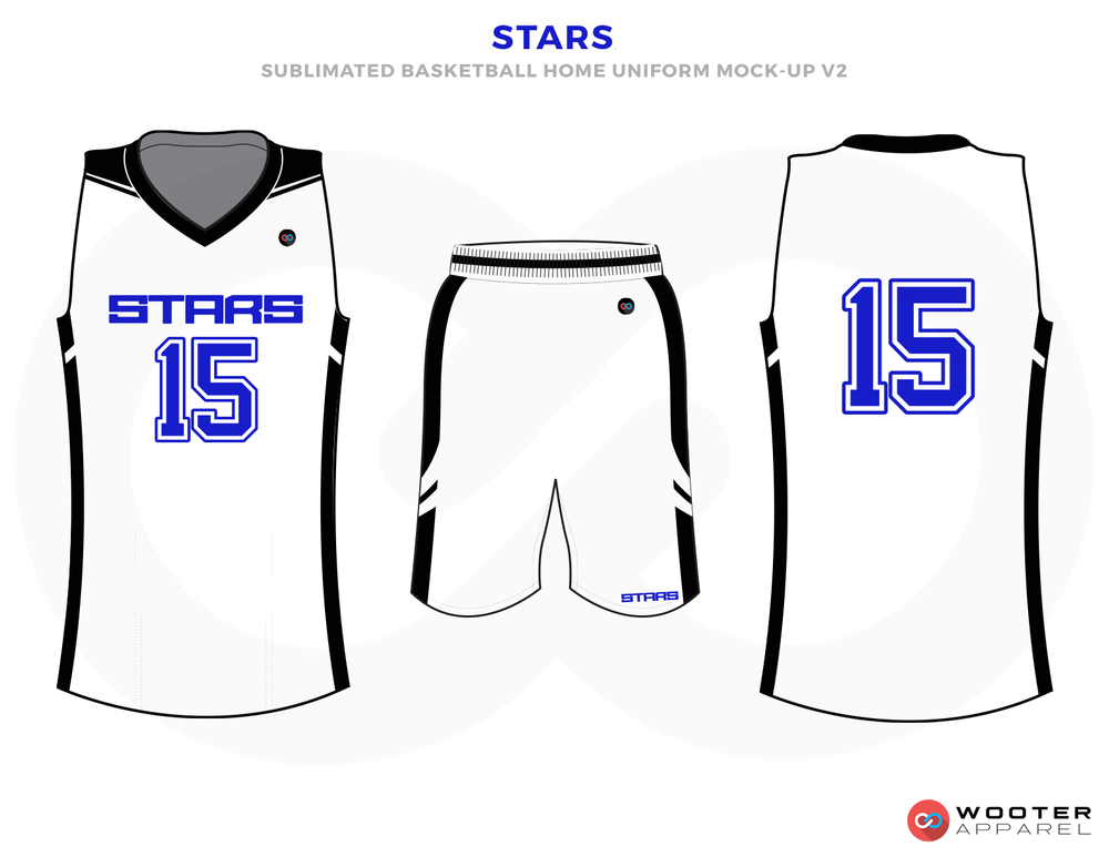 STARS White Blue and Black Basketball Uniforms, Jersey and Shorts