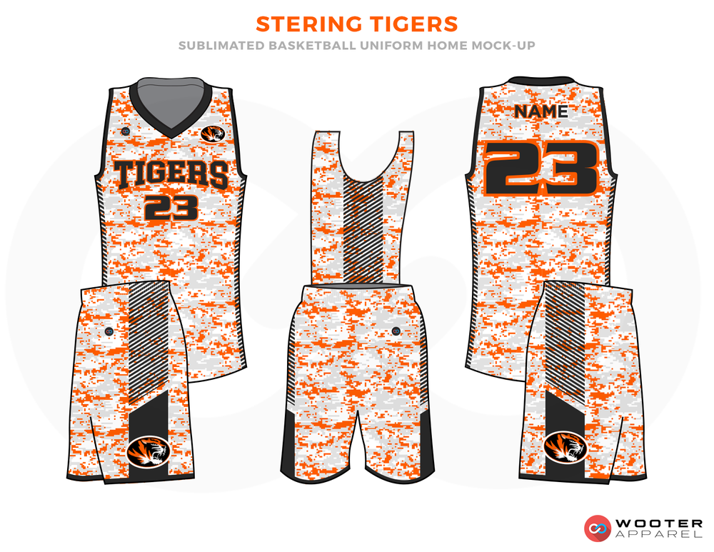 STERING TIGERS Orange Grey Black and White Basketball Uniforms, Jersey and Shorts