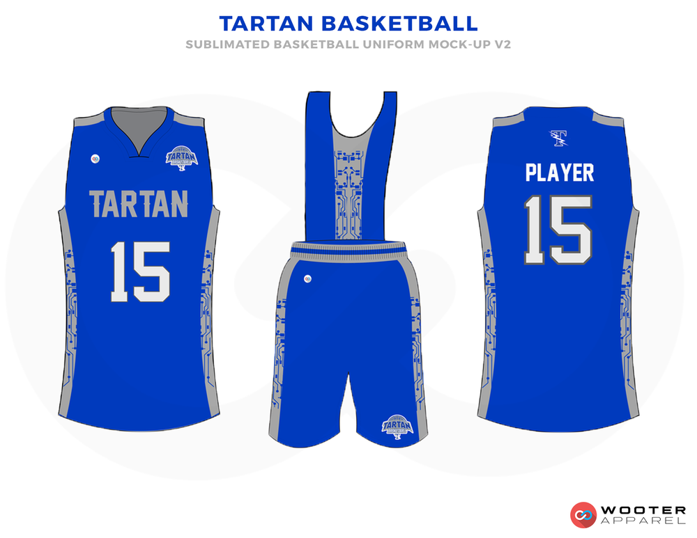 TARTAN BASKETBALL Blue Grey and White Basketball Uniforms, Jersey and Shorts