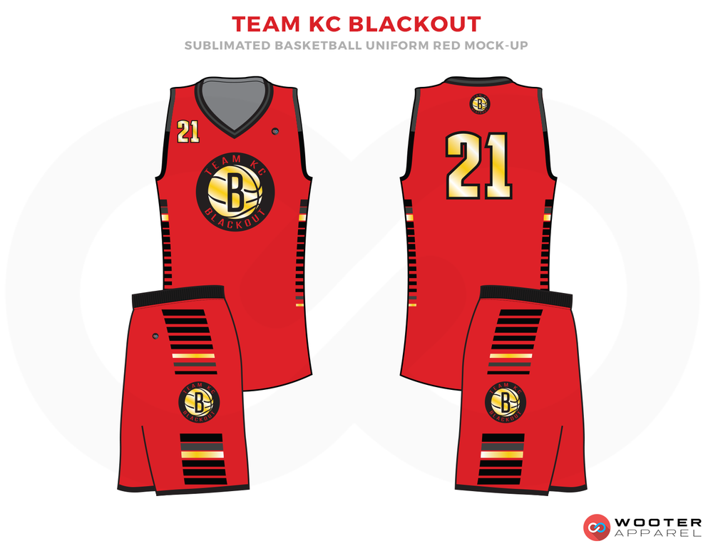 TEAM KC BLACKOUT Red Black Yellow and White Basketball Uniforms, Jersey and Shorts