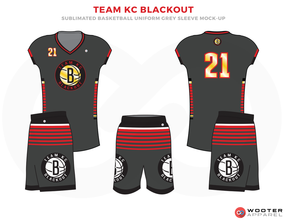 TEAM KC BLACKOUT Grey Black Red Yellow and White Basketball Uniforms, Jersey and Shorts