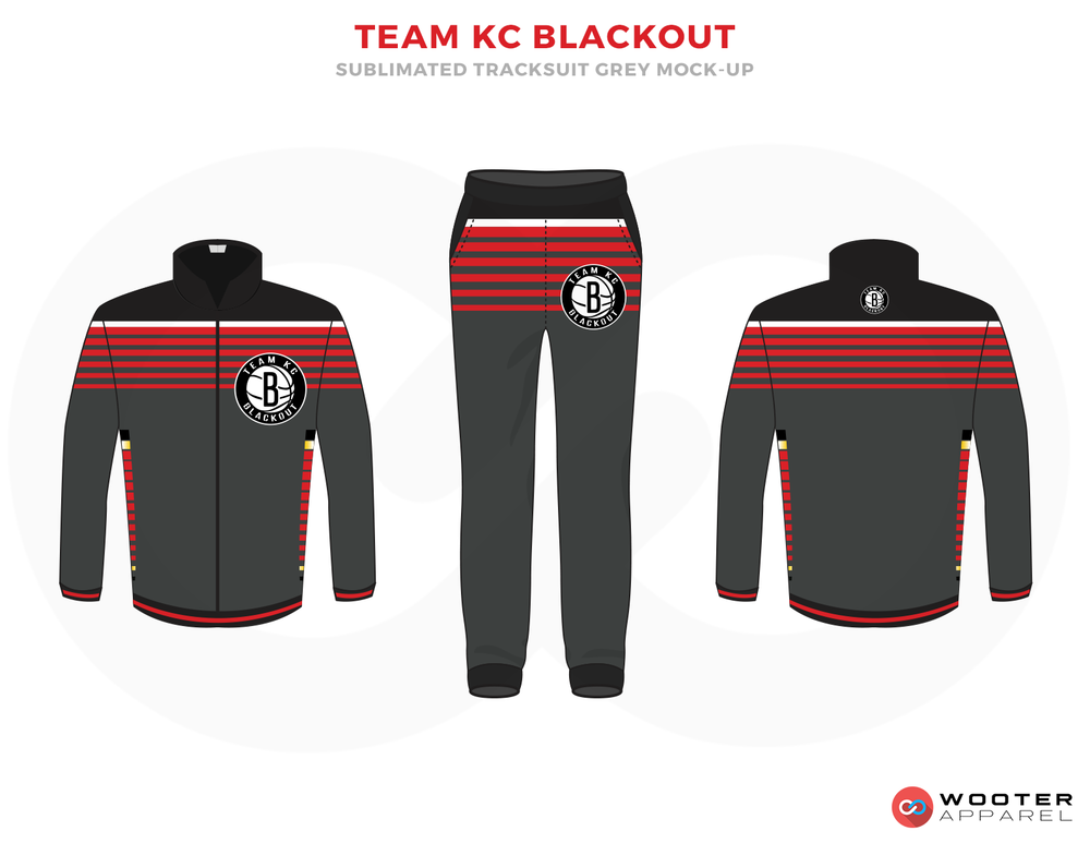 TEAM KC BLACKOUT Grey Black Red and White Basketball Uniforms, Jersey and Trousers