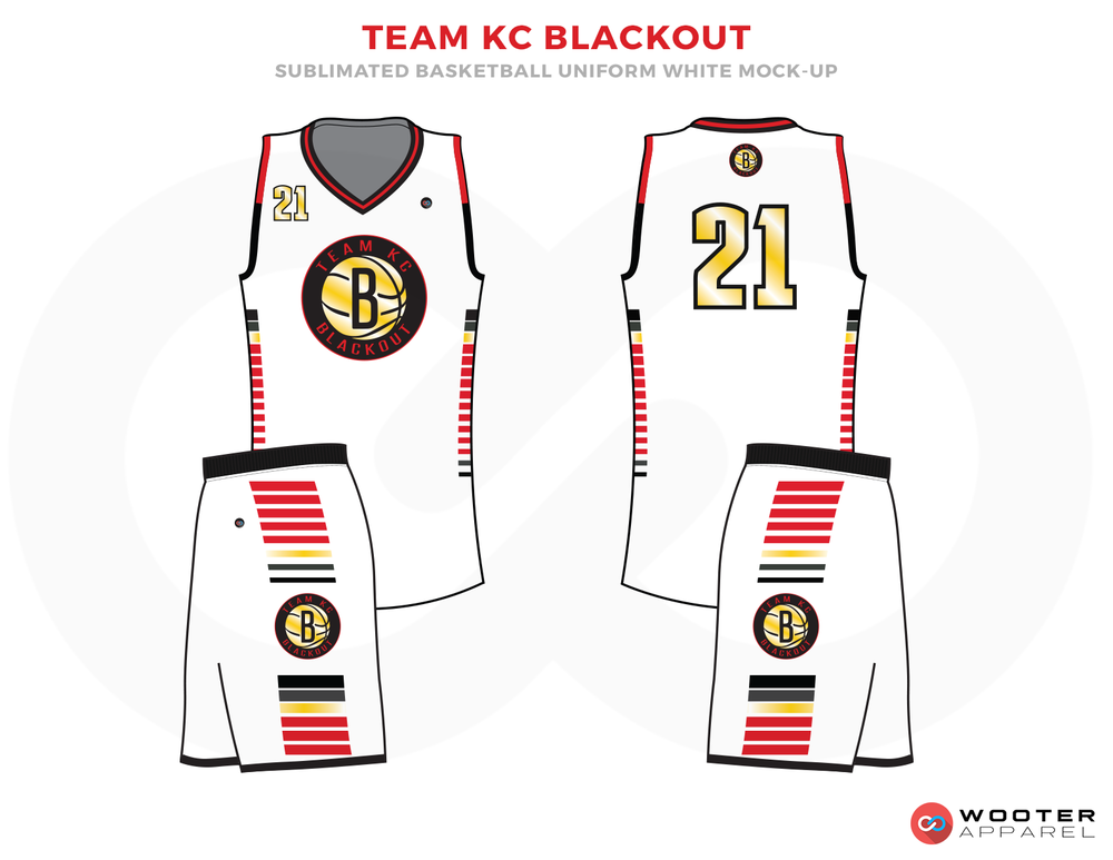 TEAM KC BLACKOUT  White Red Black Blue and Brown Basketball Uniforms, Jersey and Shorts