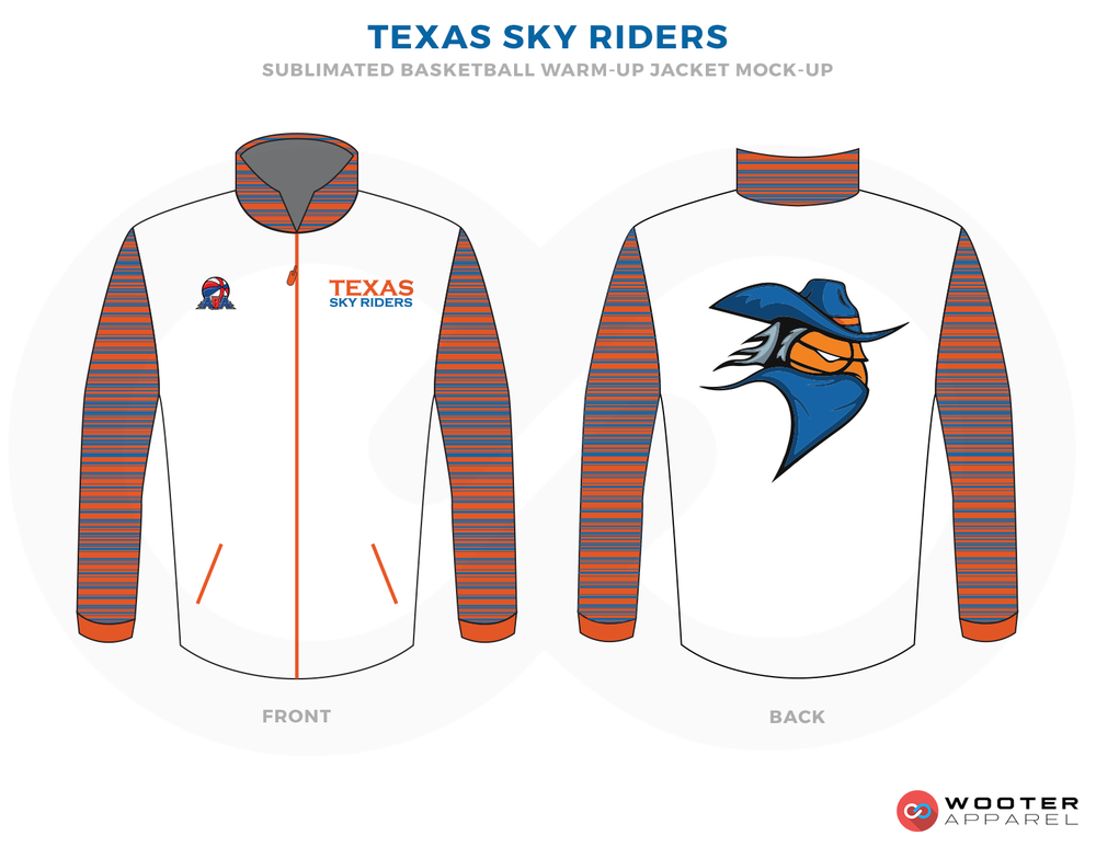 TEXAS SKY RIDERS White Blue Orange Black and White Basketball Uniforms, Jackets