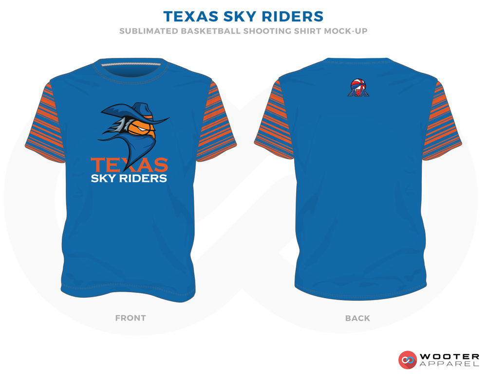 TEXAS SKY RIDERS Blue Orange Black and White Basketball Uniforms, Jersey and Shirts