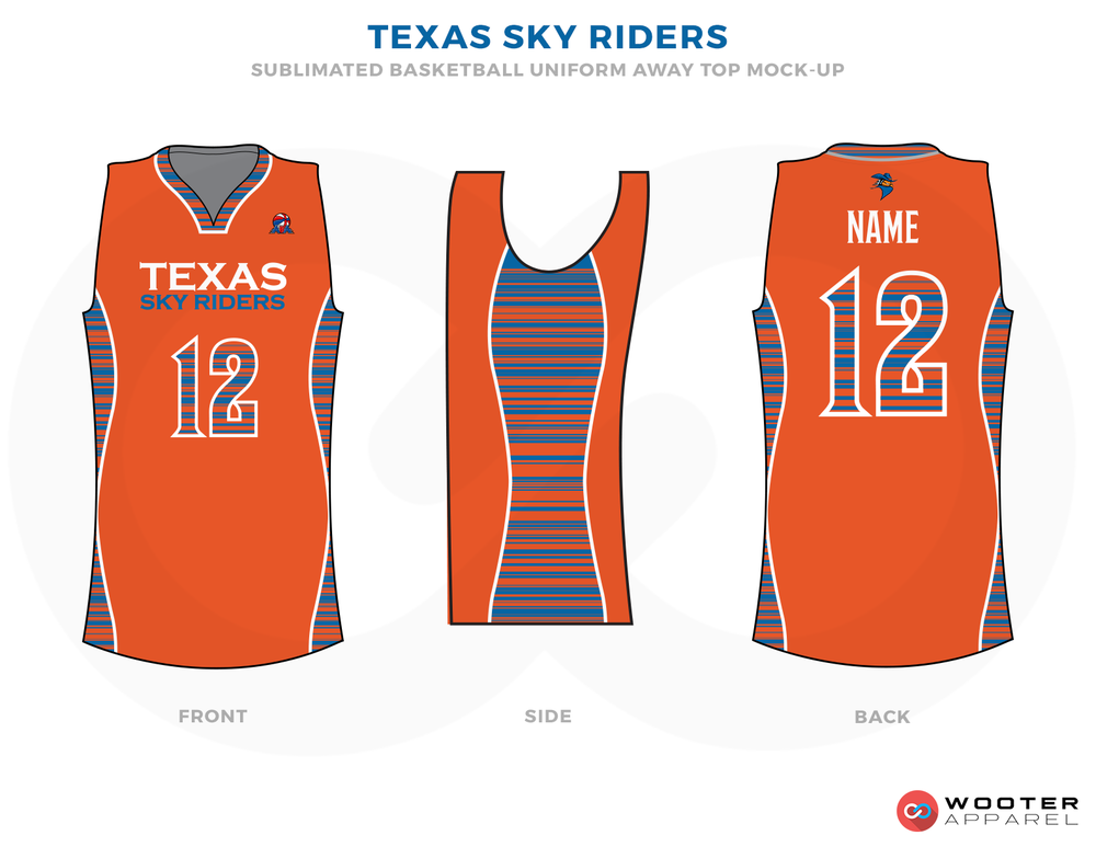 TEXAS SKY RIDERS Orange  Blue and White Basketball Uniforms, Shirts
