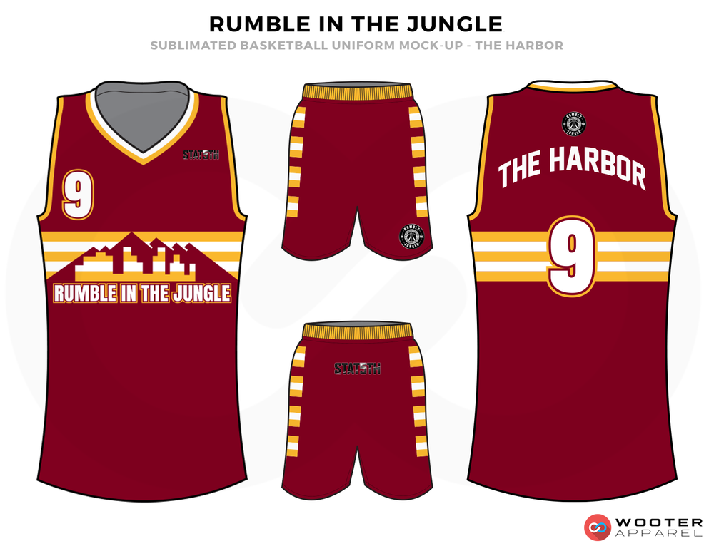 RUMBLE IN THE JUNGLE Red Yellow Black Grey and White Basketball Uniforms, Jersey and Shorts