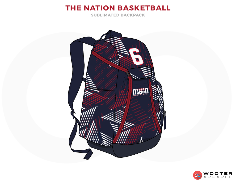 THE NATION BASKETBALL Blue Red and White Basketball Bags