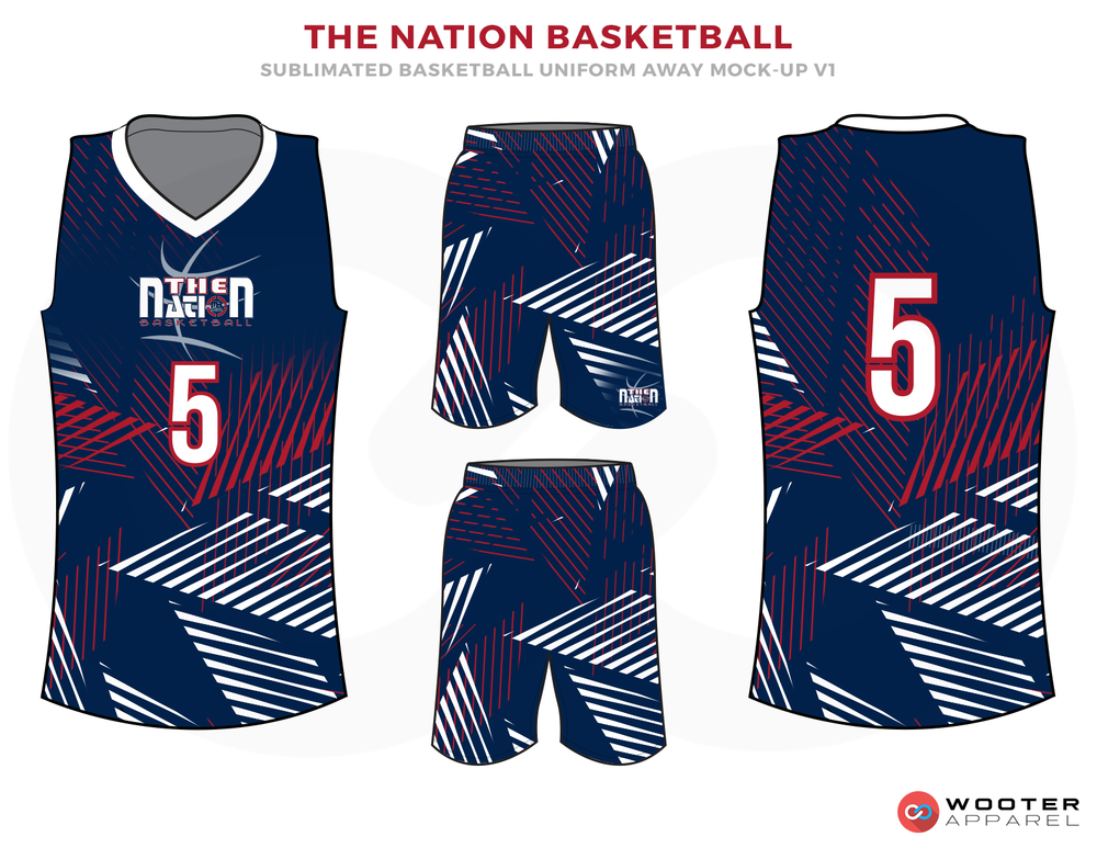 THE NATION BASKETBALL Blue Red and White Basketball Uniforms, Jersey and Shorts