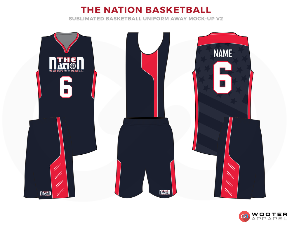 THE NATION BASKETBALL Dark Blue Pink and White Basketball Uniforms, Jersey and Shorts