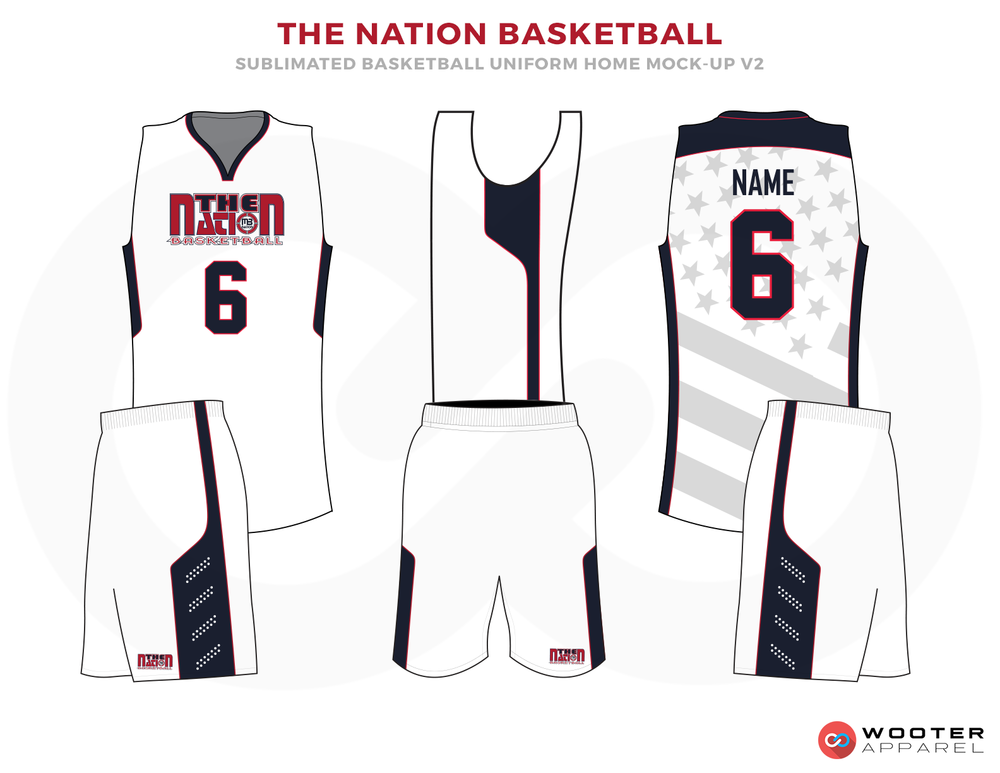 THE NATION BASKETBALL White Blue and White Basketball Uniforms, Jersey and Shorts