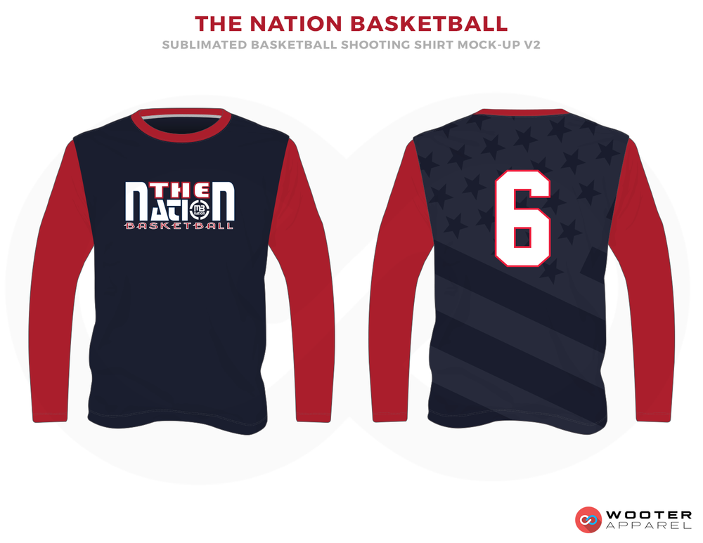 THE NATION BASKETBALL Blue Dark Blue Red and White Basketball Uniforms, Jersey and Shirts