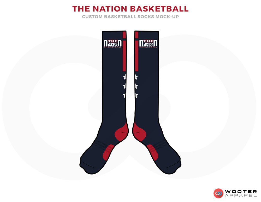 THE NATION BASKETBALL Dark Blue Red and White Basketball , Long Socks