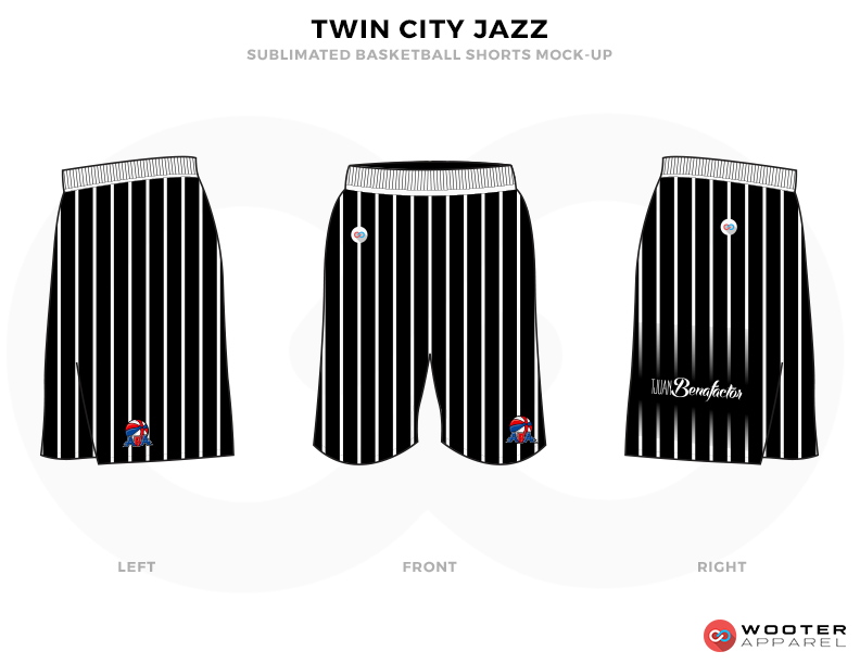 TWIN CITY JAZZ  Black and White Basketball Uniforms,  Shorts