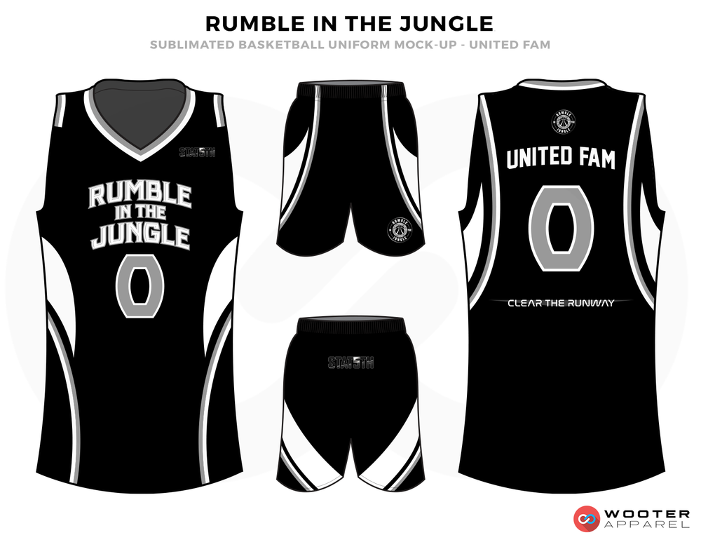 RUMBLE IN THE JUNGLE Black Grey and White Basketball Uniforms, Jersey and Shorts