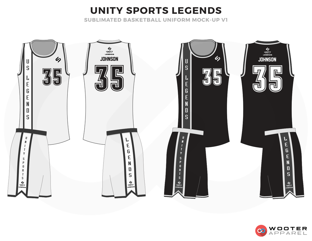 UNITY SPORTS LEGENDS Black and White Basketball Uniforms, Jersey and Shorts