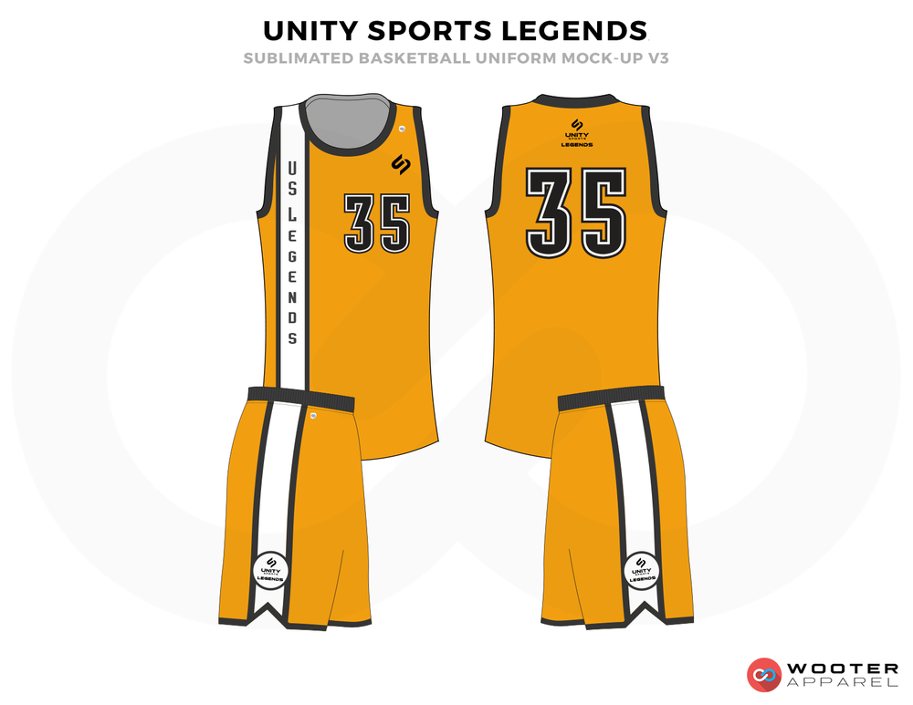 UNITY SPORTS LEGENDS  Golden Black and White Basketball Uniforms, Jersey and Shorts