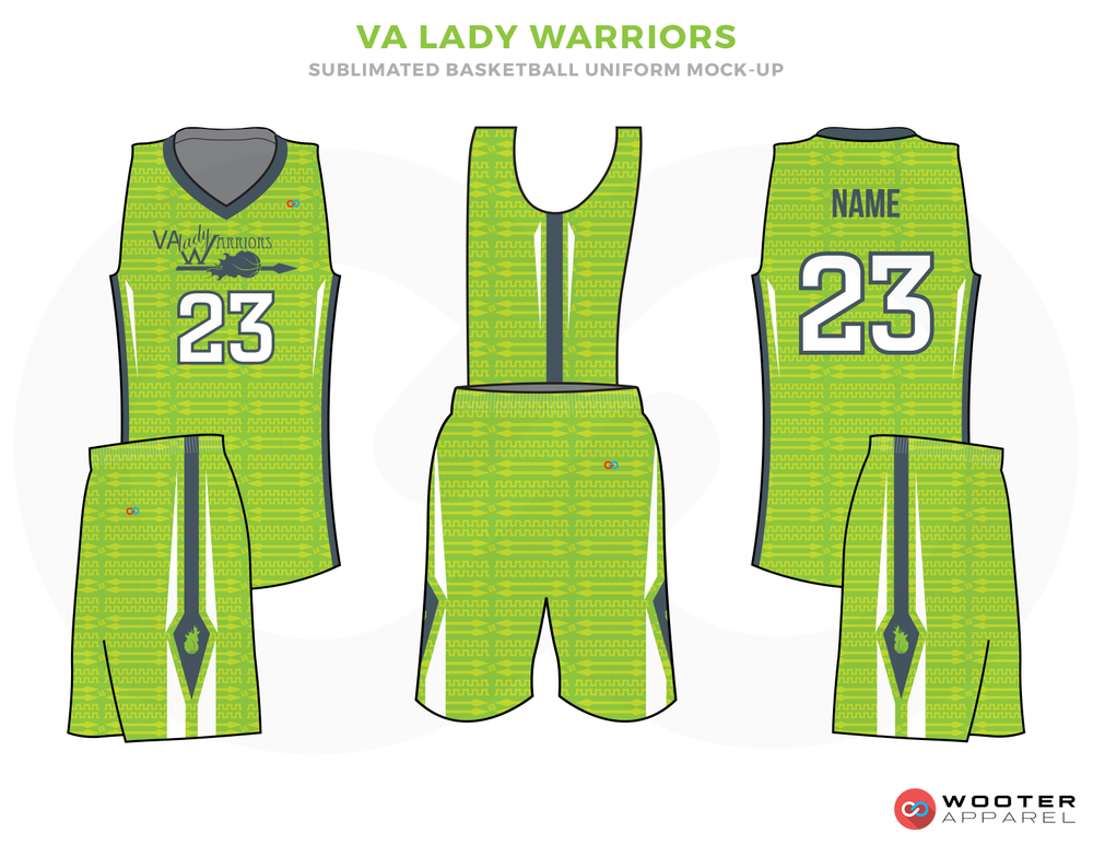 VA LADY WARRIORS Green Light Blue and White Basketball Uniforms, Jersey and Shorts
