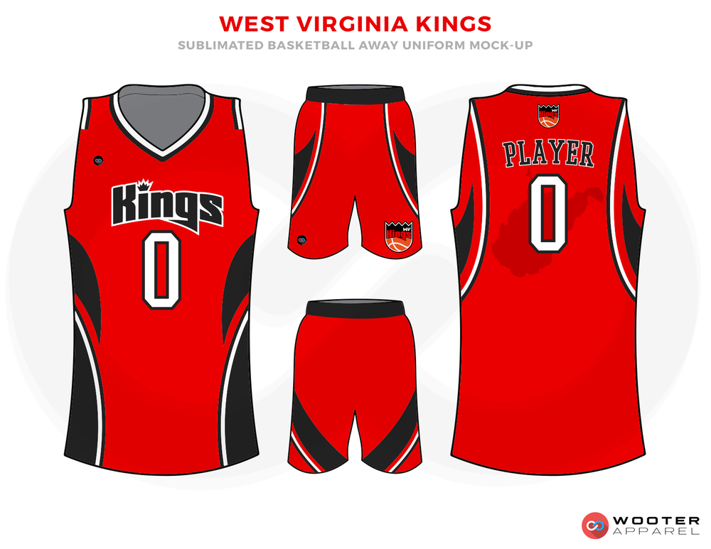 WEST VIRGINIA KINGS Red Black Yellow and White Basketball Uniforms, Jersey and Shorts