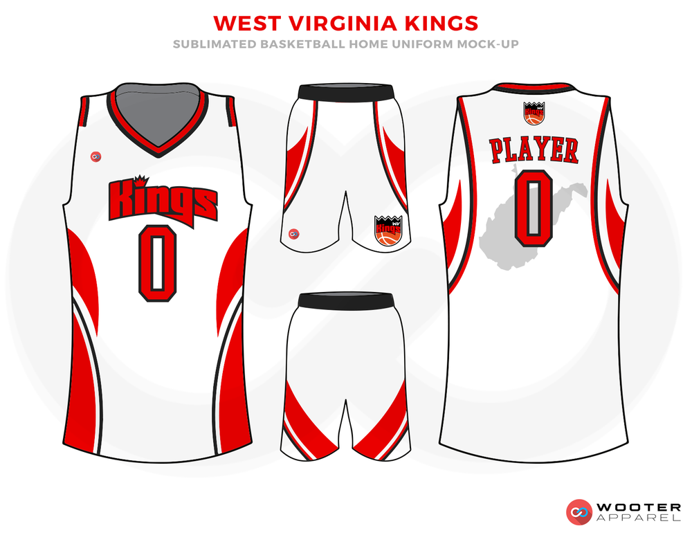 WEST VIRGINIA KINGS White Red and Black Basketball Uniforms, Jersey and Shorts