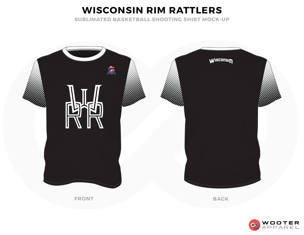 WISCONSIN RIM RATTLERS Black Grey and White Basketball Uniforms, Shirts