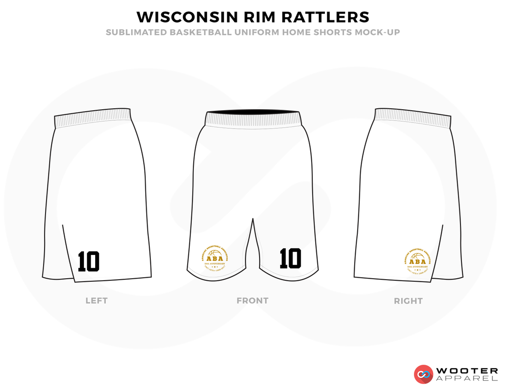 WISCONSIN RIM RATTLERS White Black and Golden Basketball Uniforms, Shorts