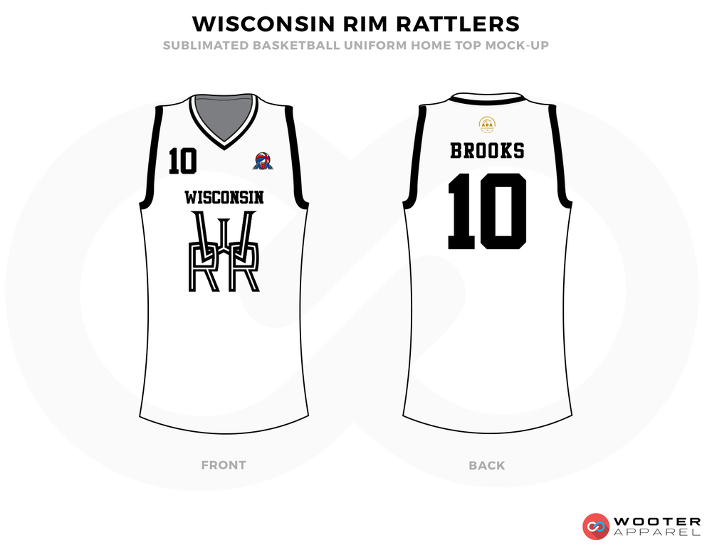 WISCONSIN RIM RATTLERS White Black and Grey Basketball Uniforms, Shirts