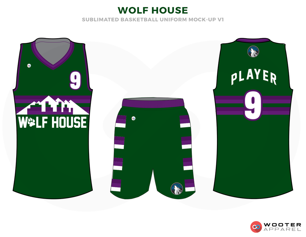 WOLF HOUSE Green Purple and White Basketball Uniforms, Jersey and Shorts