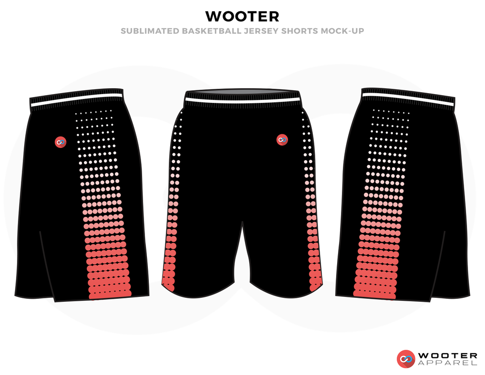 WOOTER Black Pink and White Basketball Uniforms, Shorts