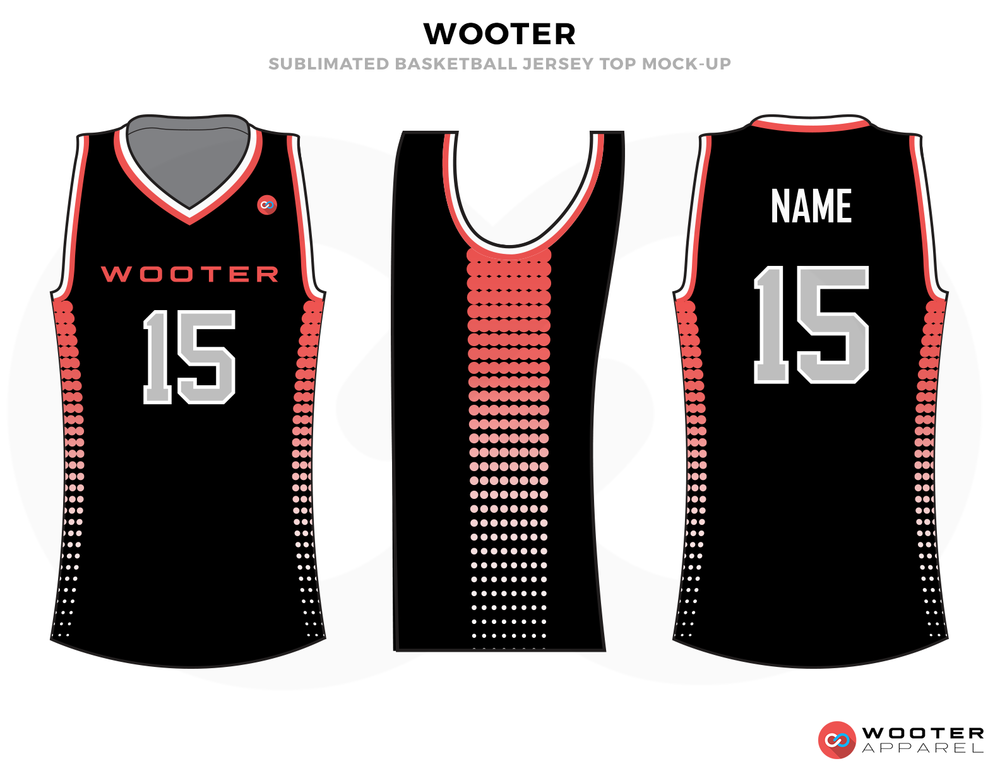 WOOTER Black Pink and Grey Basketball Uniforms, Shirts