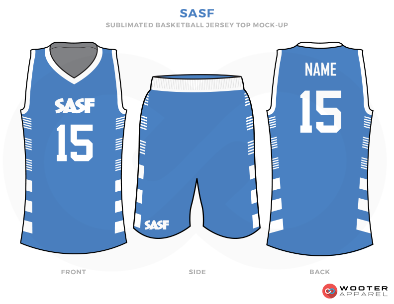 SASF Blue and White Basketball Uniforms, Jersey and Shorts