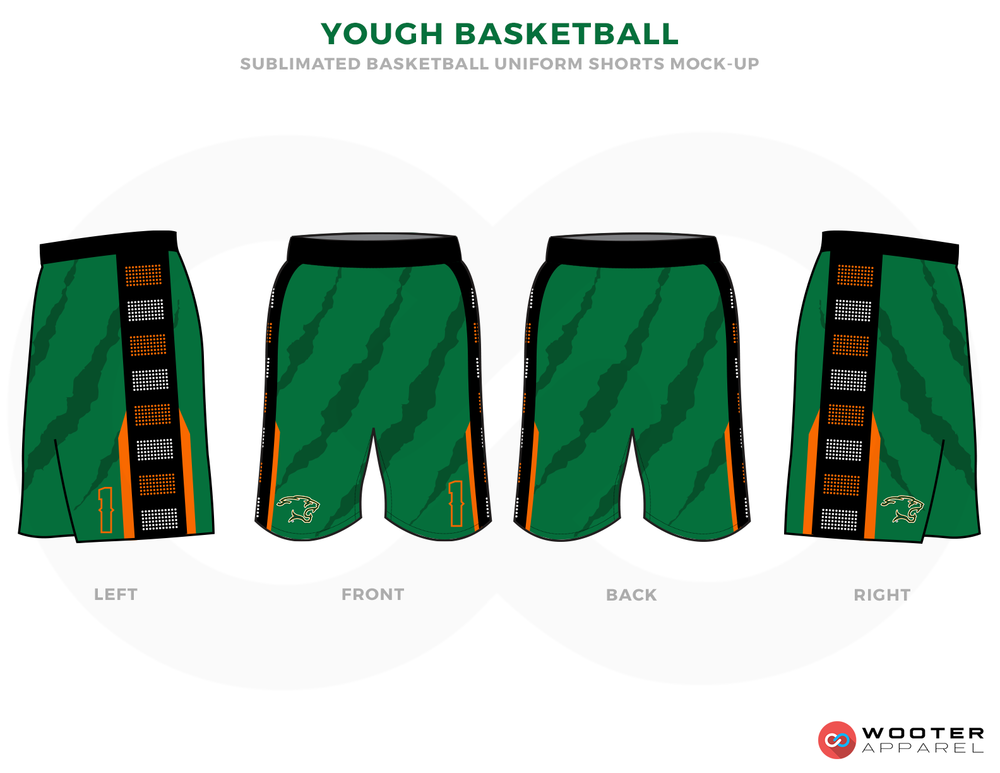 YOUGH BASKETBALL Green Black Brown Grey and Yellow Basketball Uniforms,Shorts