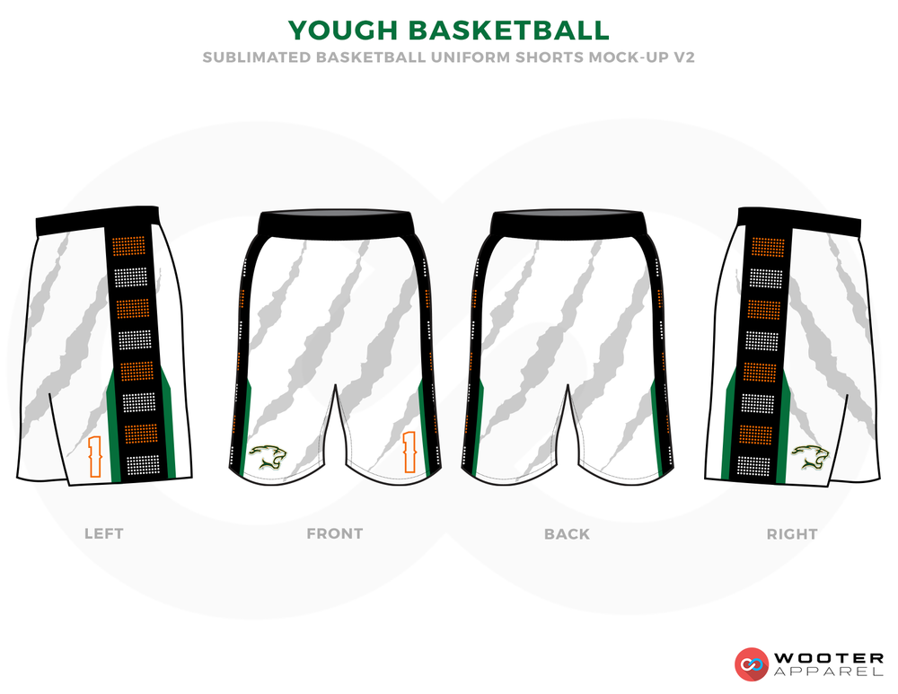 YOUGH BASKETBALL Black Grey Brown and White Basketball Uniforms, Shorts
