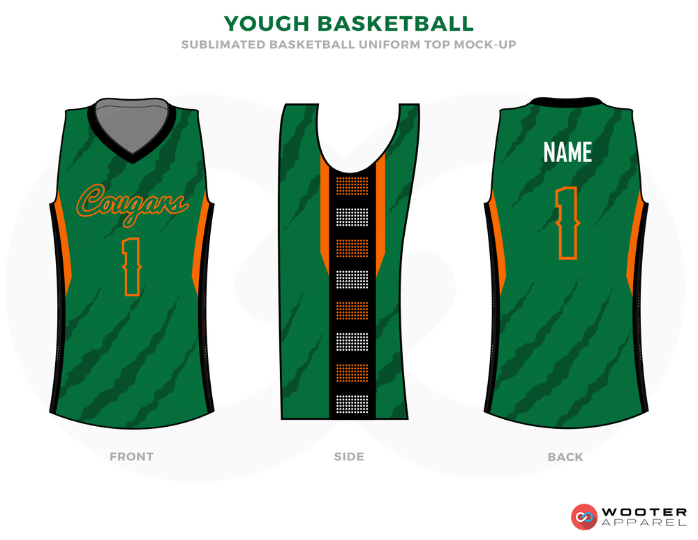 YOUGH BASKETBALL Green Grey Brown Orange White and Black Basketball Uniforms, Shirts