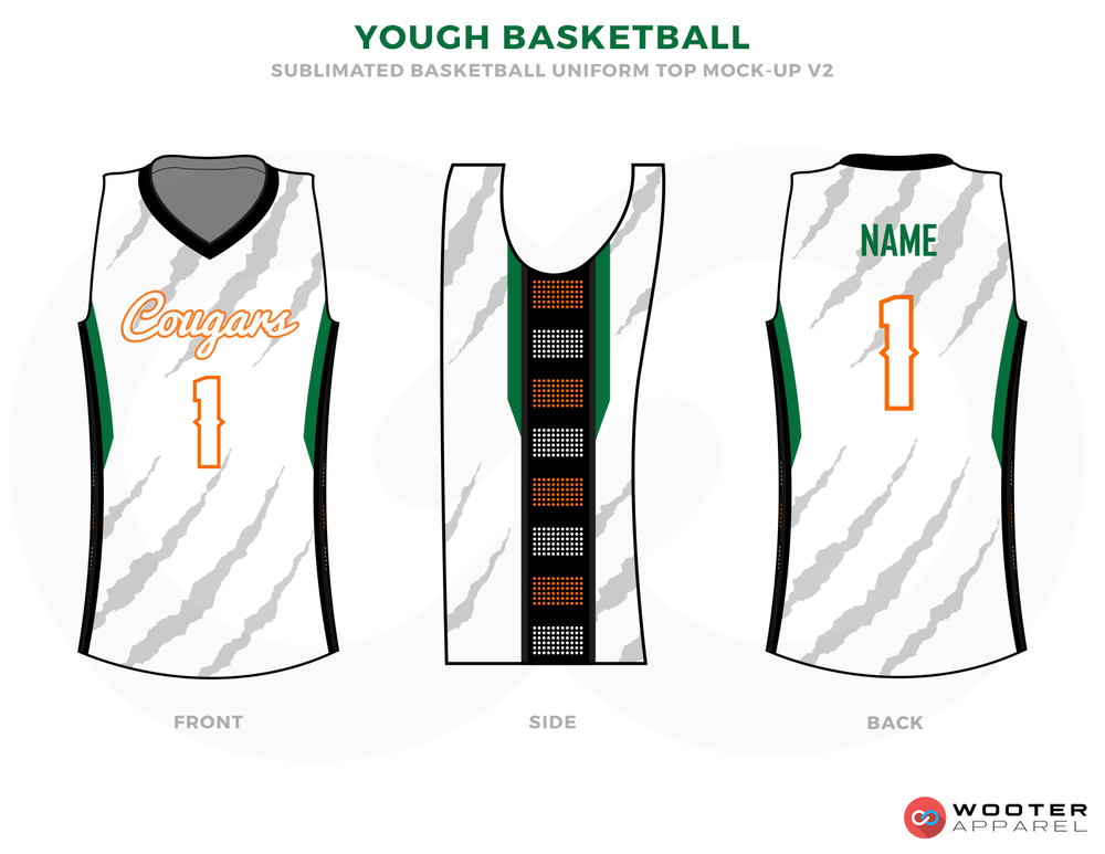 YOUGH BASKETBALL White Grey Green Red and Black Basketball Uniforms, Shirts