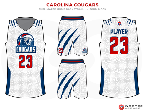 CAROLINA COUGARS White Grey Red and Blue Basketball Uniforms, Jersey and Shorts