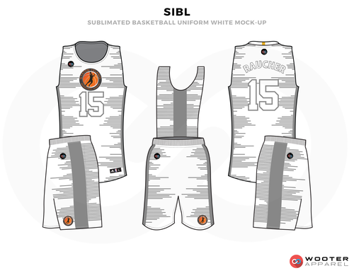 SIBL White Grey Orange and Black Basketball Uniforms, Jersey and Shorts