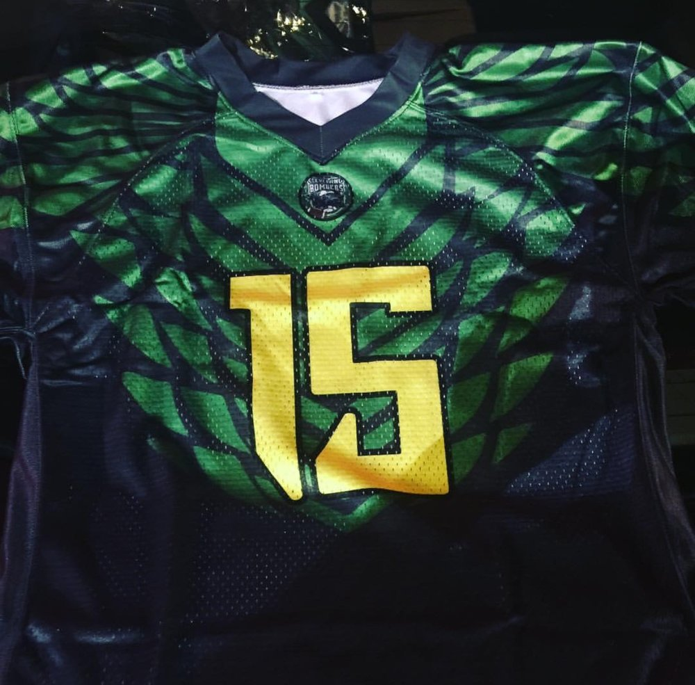Blue Yellow and Green Football Uniforms, Jerseys