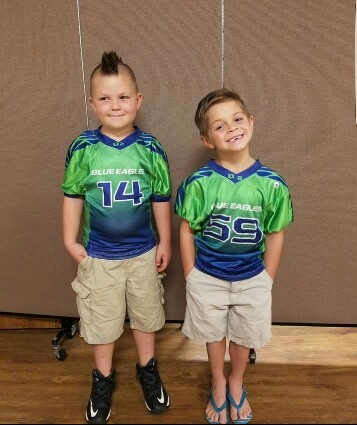Blue white and Green Football Uniforms, Jersey and Shorts