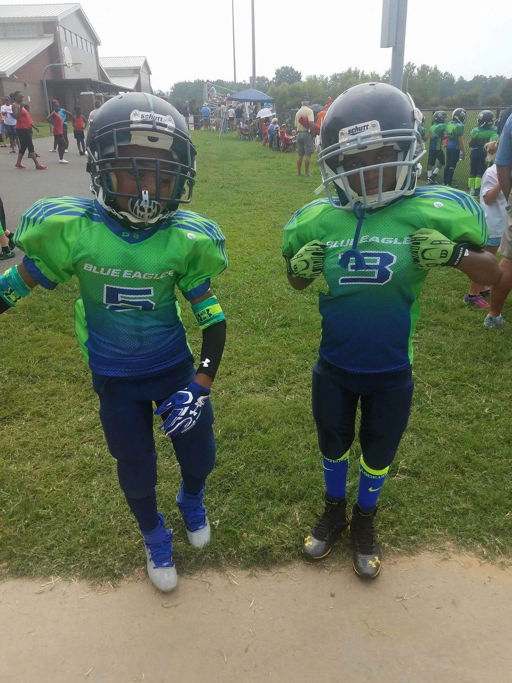 Blue white and Green Football Uniforms, Jersey and Pants
