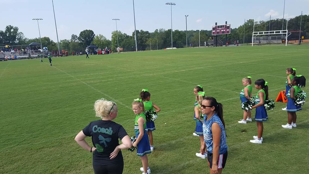 Blue white and Green Cheerleading Uniforms, Jersey and Skirts
