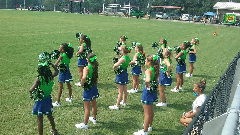 Green Blue and White Cheerleading Uniforms, Jersey and Skirts