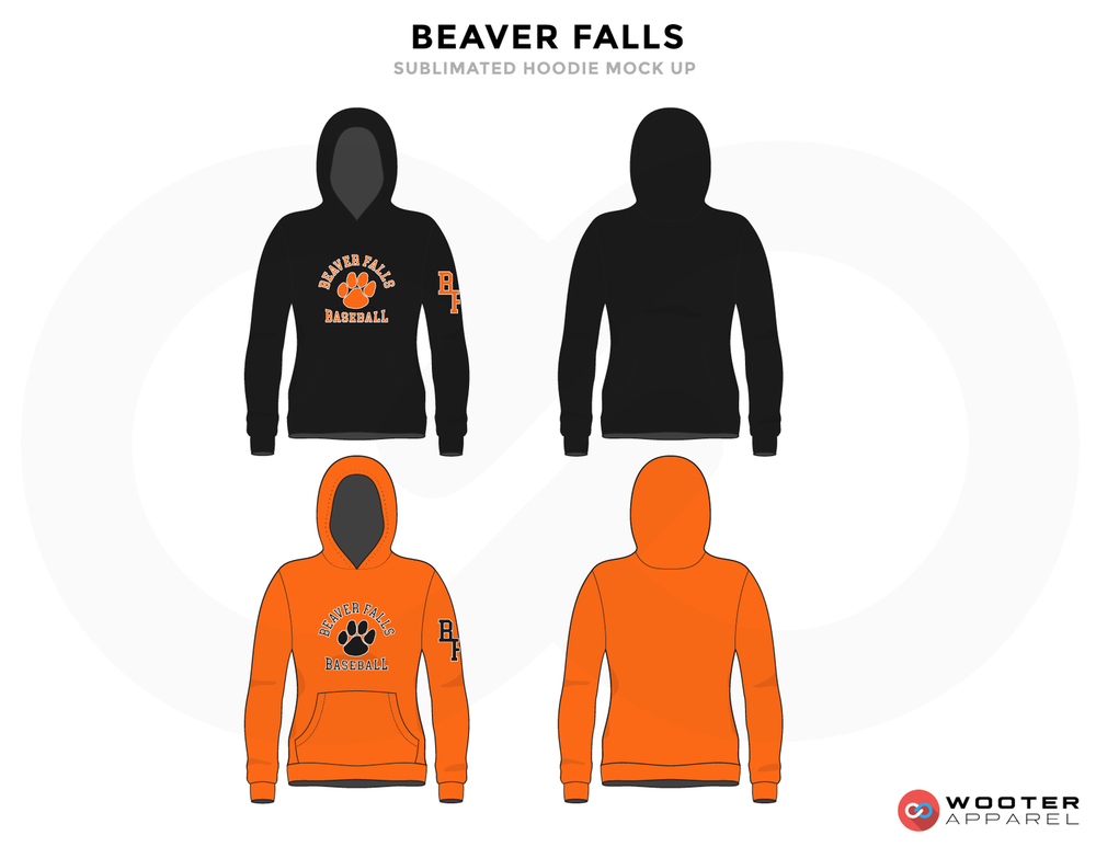 BEAVER FALLS Black Orange and Grey Baseball Uniforms, Hoodies
