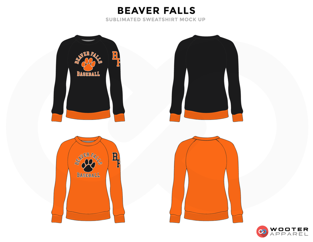 BEAVER FALLS Black Orange and Grey Baseball Uniforms, Jerseys