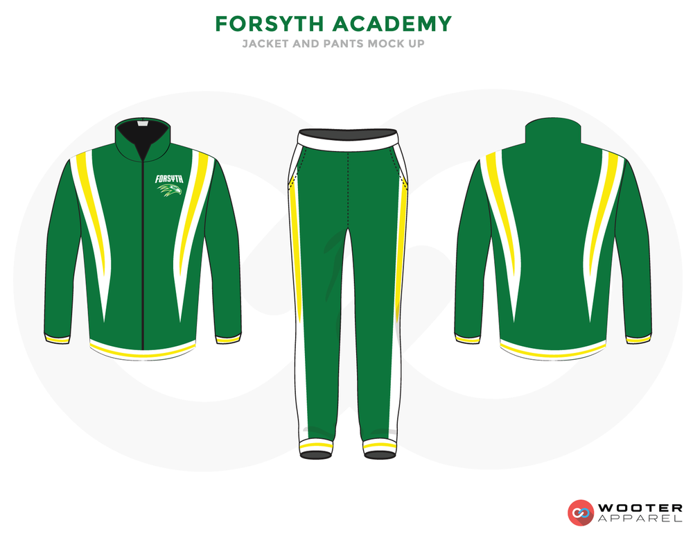 FORSYTH ACADEMY Green White Black and Yellow Baseball Uniforms, Jacket and Pants
