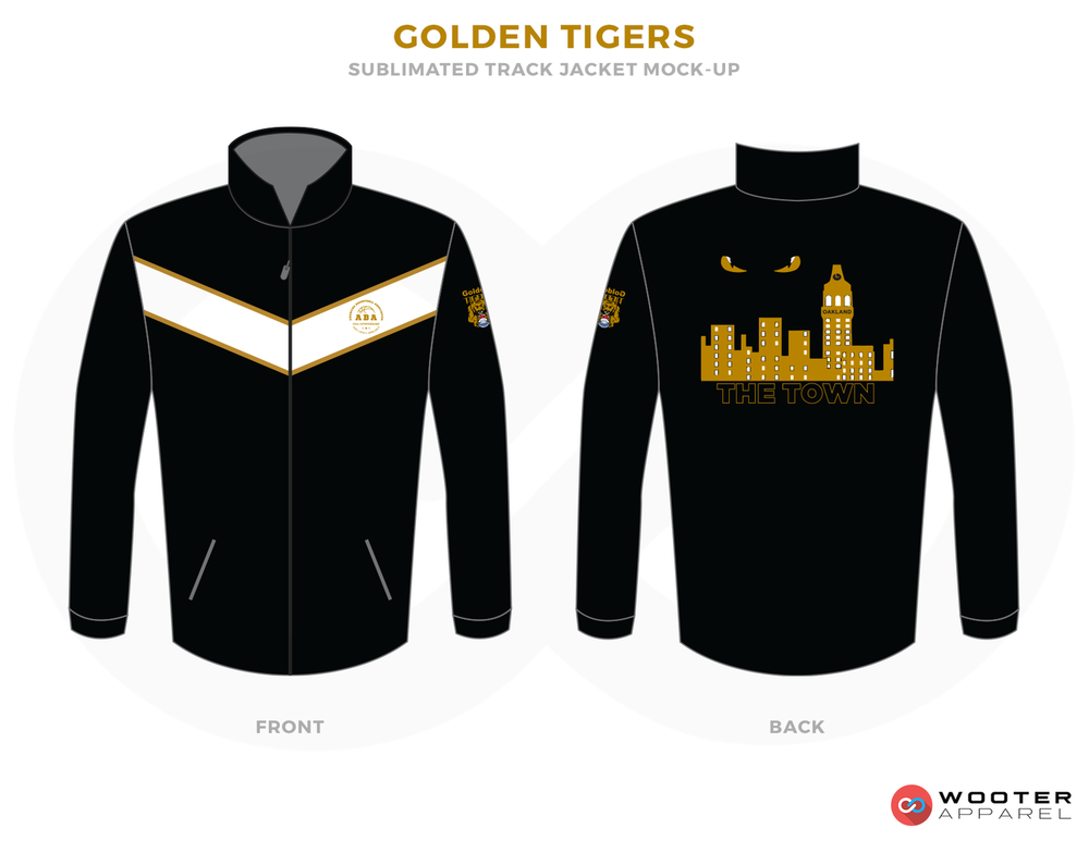 GOLDEN TIGERS Black Vegas Gold and White Baseball Uniforms, Jackets
