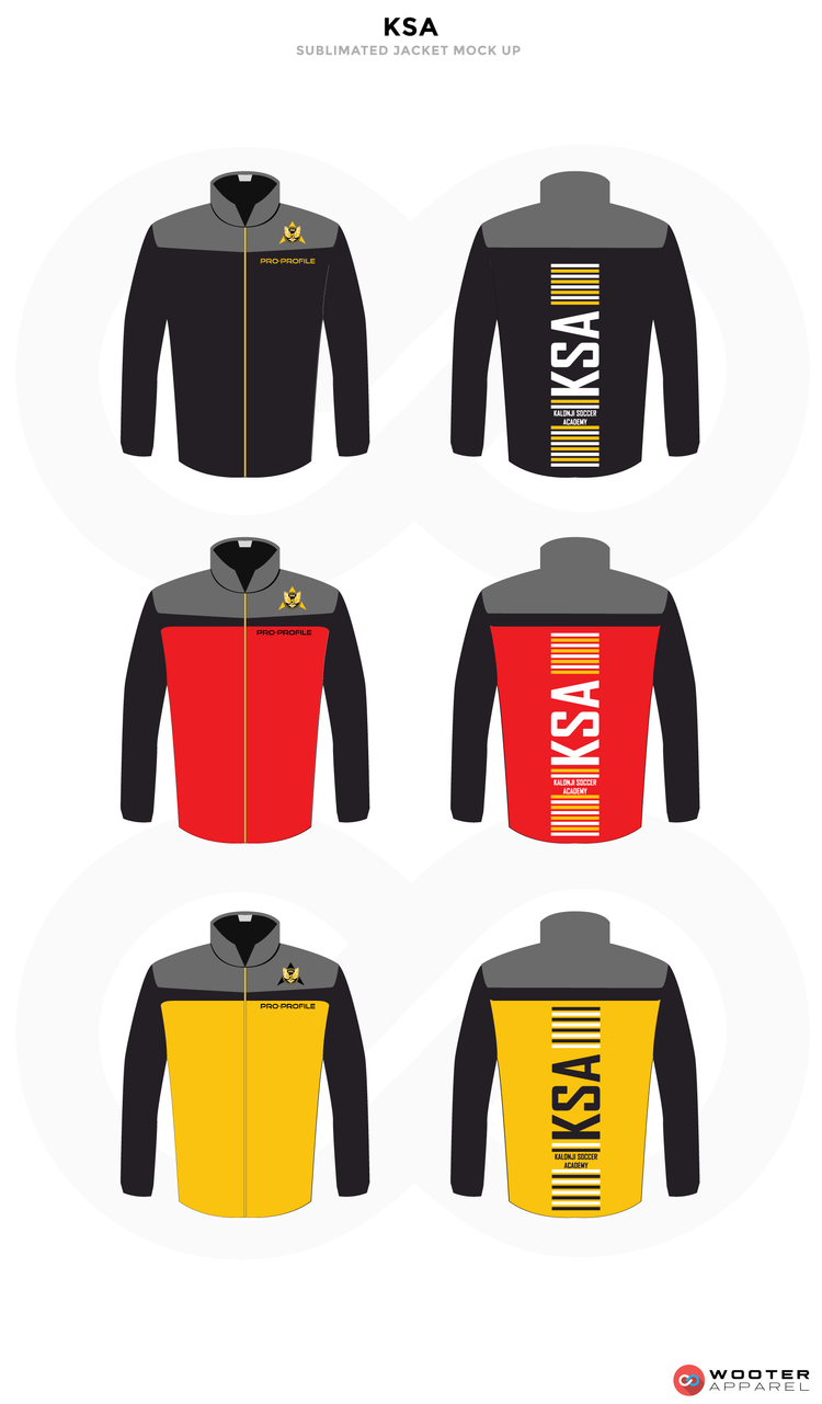 KSA Black Grey White Red and Yellow Baseball Uniforms, Jackets